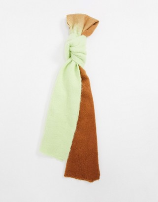 ASOS DESIGN wool mix ombre scarf in green and brown