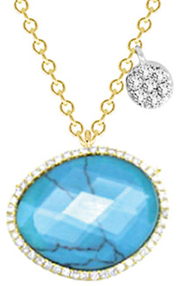 Meira T 14K 8.41 Ct. Tw. Diamond & Turquoise Necklace