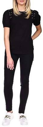 MICHAEL Michael Kors Lace-Up Grommet T-Shirt (Black) Women's Clothing