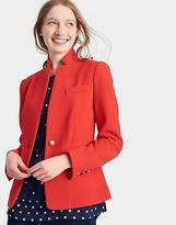 Joules Womens Sierra Pique Fitted Blazer with Printed Lining in Red