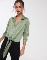 Asos Design DESIGN satin long sleeve shirt with tie front-No Color