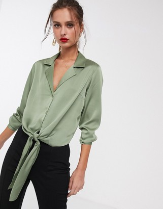 Asos DESIGN satin long sleeve shirt with tie front