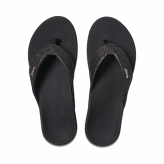 Reef Women's Sandals Ortho-Spring | Arch Support Flip Flops for Women BLACK/BLACK GLITTER 7 M US