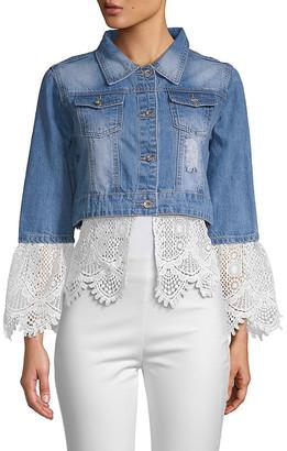 Lea & Viola Cropped Lace-Trim Denim Jacket