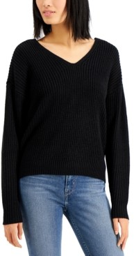 Hooked Up by IOT Juniors' Lace-Up Back Sweater