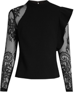 Self-Portrait Ophelia ruffled lace-sleeved blouse