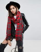 Asos Long Woven Plaid Scarf With Tassels