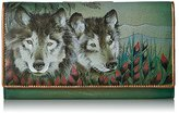 Anuschka Hand Painted Rfid Blocking Two Fold French Wallet Western Wolf Wallet