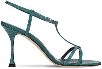Manolo Blahnik 90mm Raqui Snakeskin Sandals