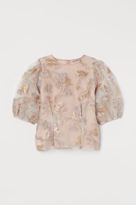 H&M Puff-sleeved brocade top