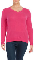 Lord & Taylor Plus Cashmere V-neck Sweater