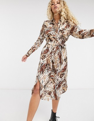 Object shirt dress in tiger print