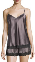 Neiman Marcus Lace-Trimmed Silk Lounge Tank
