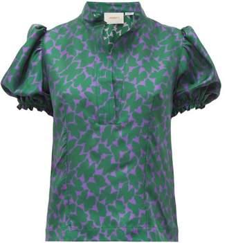 La DoubleJ Shortcake Farfalline Verde Print Silk Twill Blouse - Womens - Green