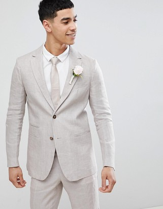 Benetton Wedding Regular Fit Linen Suit Jacket In Stone