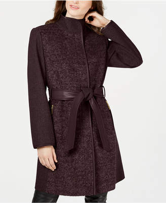 Vince Camuto Twill Wool Faux-Leather Trim Coat
