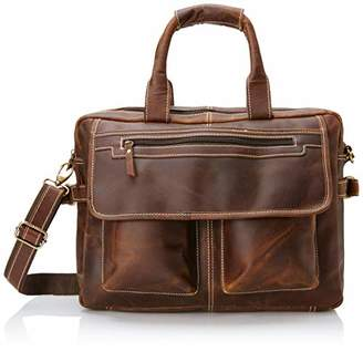 Buffalo David Bitton 16 inch Vintage Leather Messenger Satchel Laptop Briefcase Men's Bag Crazy Vintage Leather Messenger ()