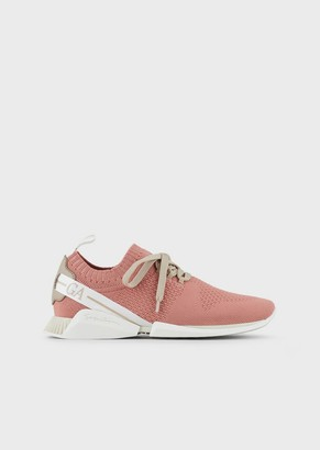 Giorgio Armani Mesh Sneakers With Leather Inserts