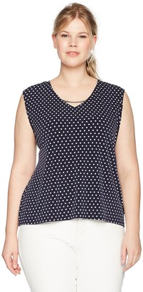 Calvin Klein Women's Plus Size S/L TOP W/CURV BAR