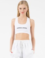 Andrea Crews White AC Printed Sport Bra