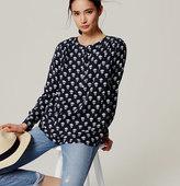 LOFT Floral Shirred Henley Shirt
