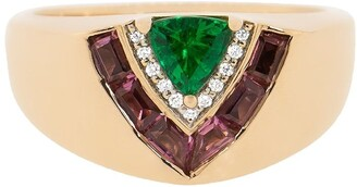Emily Wheeler 18kt Rose Gold, Emerald, Pink Sapphire And Diamond Tiered Signet Ring
