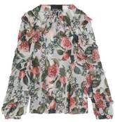 Nicholas Ruffle-Trimmed Floral-Print Silk-Georgette Top