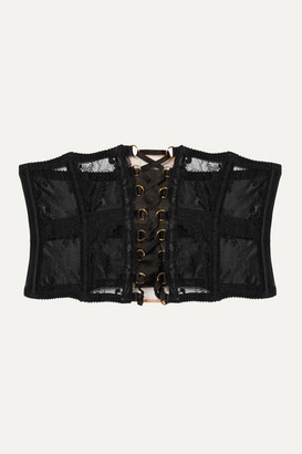 Agent Provocateur Essie Satin-trimmed Leavers Lace And Stretch-tulle Corset - Black