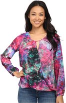 Amanda Uprichard Womens Petites Silk Wrap Blouse Multi S