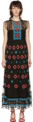 RED Valentino Black Cross Stitched Long Dress