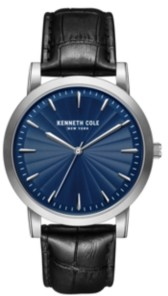 Kenneth Cole New York Men's 3 Hands Slim Silver-tone Stainless Steel Watch on Black Genuine Leather Strap, 44mm