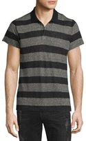 IRO Oscar Striped Short-Sleeve Polo Shirt, Black/Vanilla