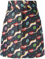 Olympia Le-Tan smoking lips print skirt - women - Linen/Flax - 38