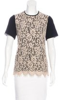 Jason Wu Short Sleeve Lace-Accented Top