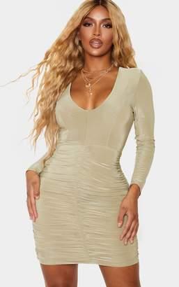 PrettyLittleThing Shape Sage Green Slinky Ruched Mini Dress