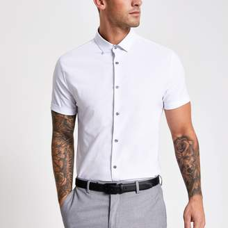 River Island Mens White textured short sleeve slim fit shirt
