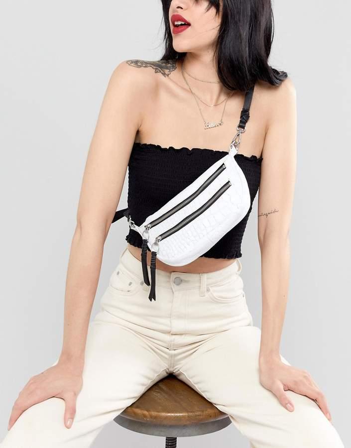 Asos Design DESIGN leather croc bum bag with double zip detail