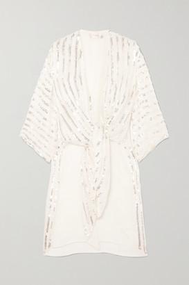 Temperley London Neri Tie-front Sequin-embellished Crepe Kimono - Ivory