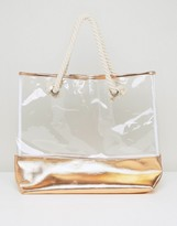 South Beach Rose Gold Transparent Beach Bag