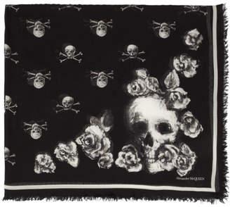 Alexander McQueen Black Rose Skull Scarf