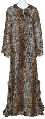 Dolce & Gabbana Brown Animal Print Cotton Ruffled Maxi Tunic Dress S