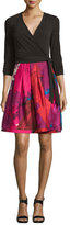 Diane von Furstenberg Jewel Wrap Dress w/Mikado Skirt, Black/Virtuoso Amethyst