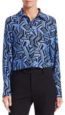 Chloé Geometric-Print Long-Sleeve Silk Button-Down Blouse