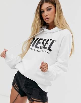 Diesel bold logo hoodie-White