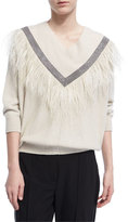 Brunello Cucinelli Monili Feather-Trim V-Neck Sweater