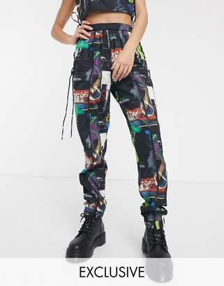 Collusion COLLUSION collage print joggers with zip front and side latice-Multi