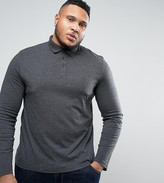 Asos PLUS Long Sleeve Jersey Polo In Charcoal Marl