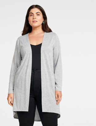 Forever New Taylor Curve High-Low Cardigan - Grey Marle - 16