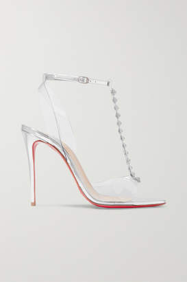 Christian Louboutin Jamais Assez 100 Spiked Pvc And Metallic Leather Sandals - Silver