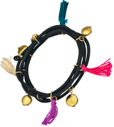 Multi Layer Elastic Bracelets with Tassels and Flat Beads